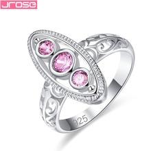 JROSE Fashion Round Cut Pink Purple Cubiz Zirconia Jewelry 925Silver Ring Size 6 7 8 9 For Women Engagement Wedding Gifts caimao 1 98ct natural emerald cut pink tourmaline si g h round diamond engagement ring