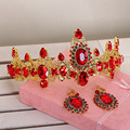 clearance 2016 new rhinstone red baroque tiara earrings sets bridal hair jewelry Baroque wedding hair jewelry