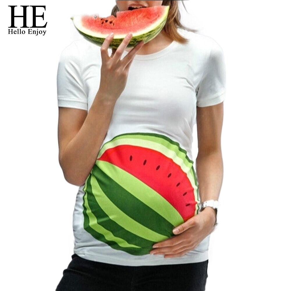 HE Hello Enjoy Maternity Clothes Pregnancy Blouse Women Pregnant T-shirt Summer Short Sleeves Print Watermelon Tops Tee Clothing