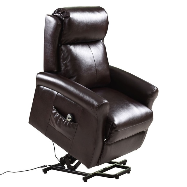 Brown Electric Lift Recliner Chair w/ Footrest 4