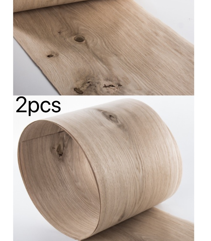 2Pieces/Lot  Length: 2.5Meters/Piece  Thickness:0.52mm  Width:20cm Natural Knots White Oak Wood Veneer