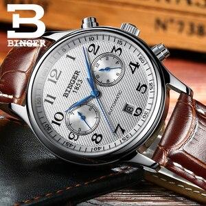 Image 5 - Switzerland Binger Luxury Brand Mens Watches Relogio Waterproof Watch Male Automatic Mechanical Men Watch Sapphire B 603 54