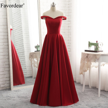 Favordear Simple Off the shoulder Satin A line Prom Gowns Boat Neck Zipper Back Burgundy Evening Dresses