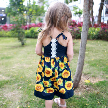 цена на Girl Kids Baby Princess Dress Floral Print Halter Bandage Bridesmaid Sleeveless Summer Backless Party Dress Print Flower Dress