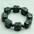 Genuino Natural Hetian jade pulsera hombres pulsera cabeza de Buda para la seguridad y la paz