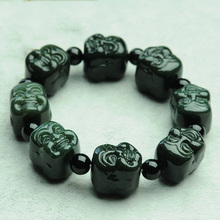 Genuine Natural Hetian jade bracelet men Emerald Buddha head bracelet for security and peace