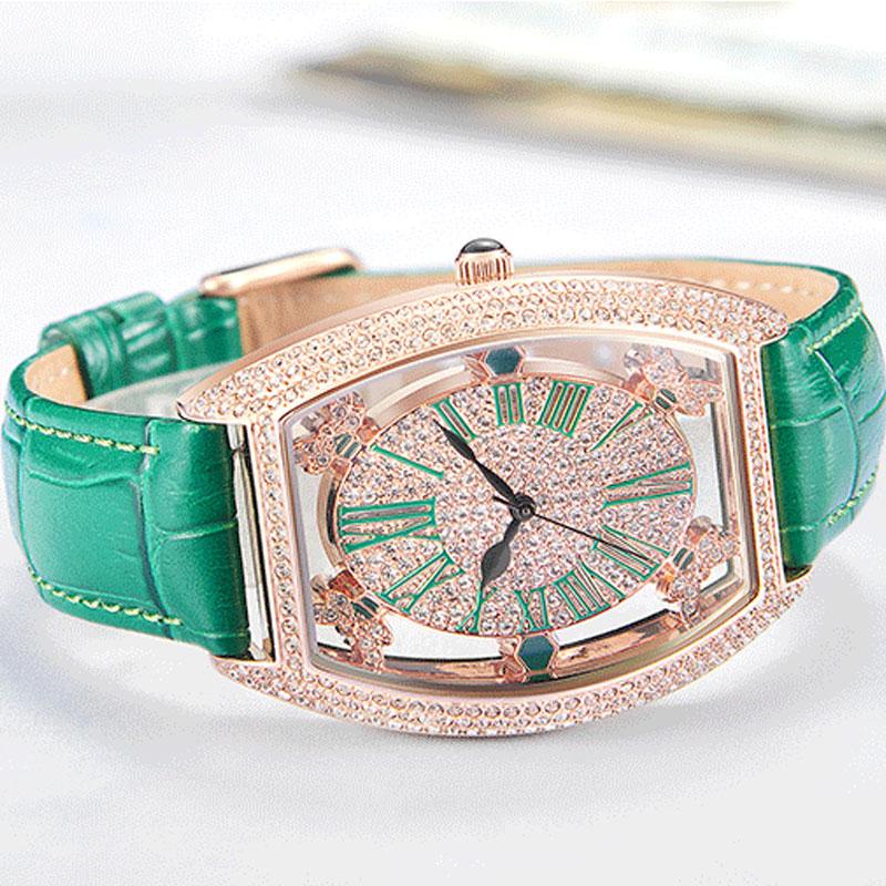 Hot DealsÿFUYIJIA Female Watch Belt Rose-Gold Roman Full-Diamond Numerals Hollow Quartz Barrel-Type