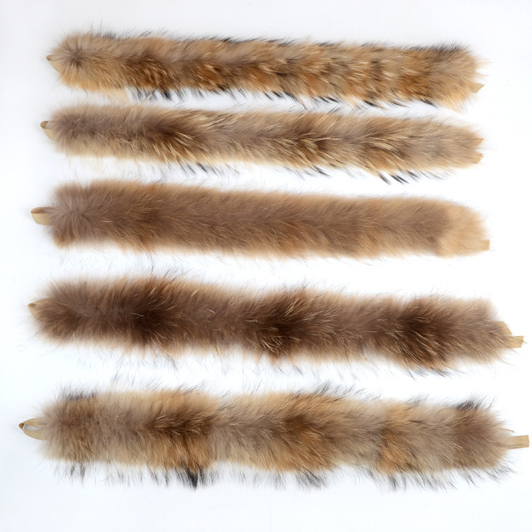 Factory Direct Real Raccoon Fur Stripes Raccoon Fur Collar Edging Hood Trmming Custom Clothing Accessories