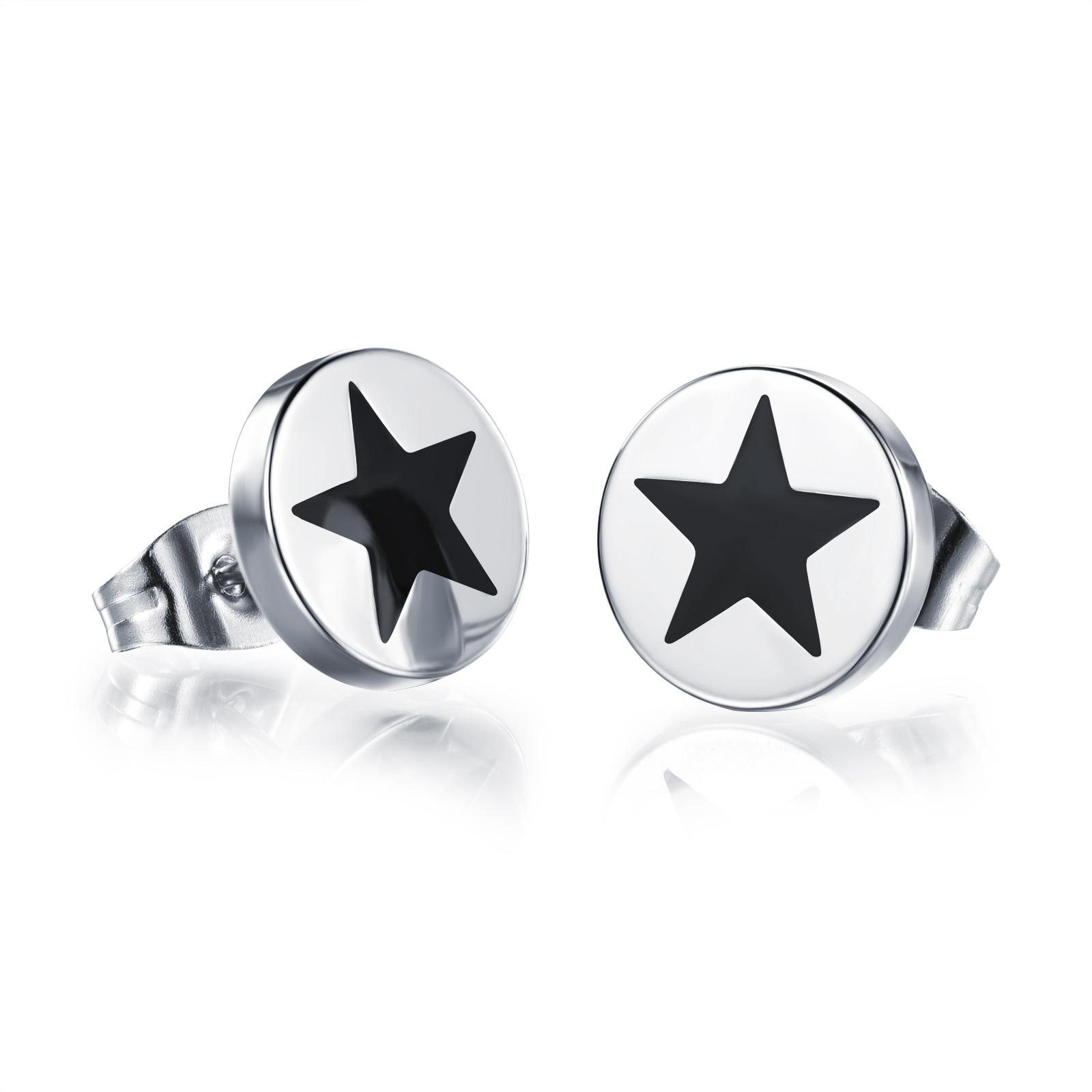 316L Steel Mens Barbell Stud Earrings Punk Style Stainless Steel Earring For Women Men Unisex Jewelry 10mm
