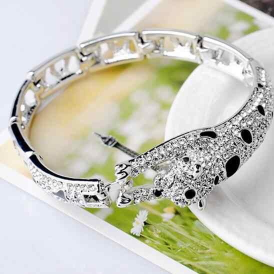 LYIYUNQ Classic Leopard Bracelets For Women Fashion Brand Animal Cute Rhinestone Wedding Jewelry Silver Plated Crystal Bracelet
