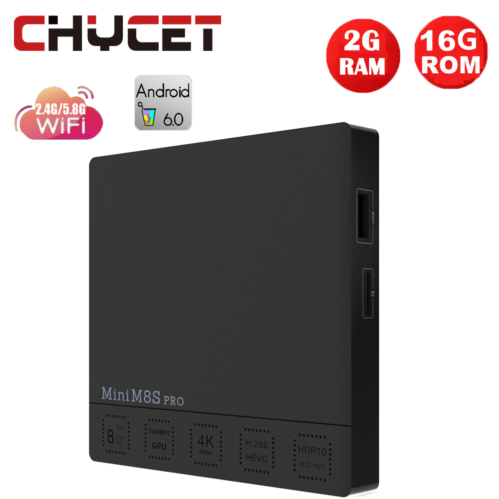 Chycet MINI M8S PRO Amlogic S912 Octa Core 2GB 16GB Smart Android 6.0 TV Box Dual WiFi 100M LAN H.265 4K Media player PK X96 laser stage lighting 48 patterns rg club light red green blue led dj home party professional projector disco dance floor lamp