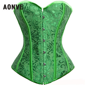 Image 1 - AONVE Corset Sexy Lingerie Brocade Royal Wedding Jarquard Corsets and Bustiers for Women Modeling Strap Sexy Green