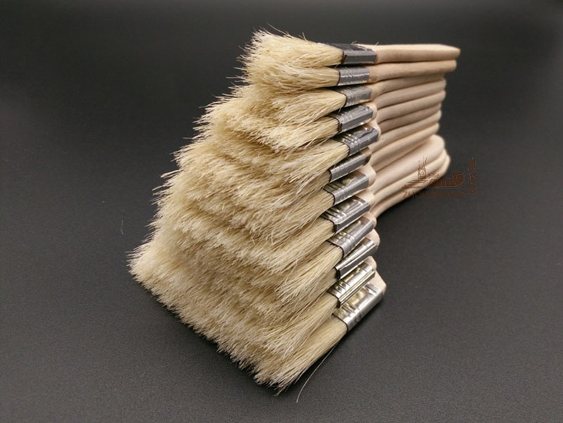 12Pcs/Set,Watercolor Oil Art Paint Brush Pig Bristle Paint Brush Art Easy To Clean Wooden Cleaning Brush BBQ Scrubbing Brush Pen