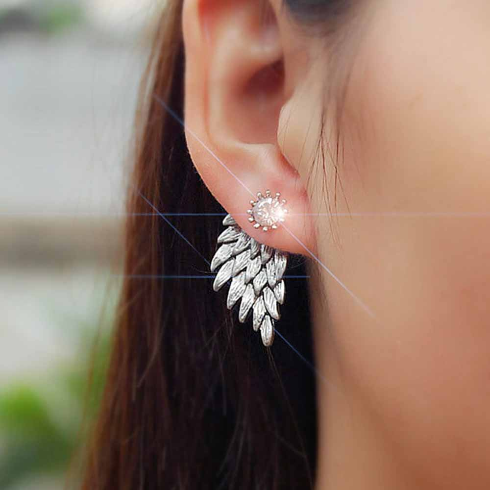 KISSWIFE 2018 Women's Angel Wings Stud Earrings Rhinestone Inlaid Alloy Ear Jewelry Party Earring Gothic Feather Brincos Gifts