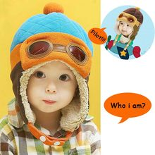 2018 Hot Cute Baby Hat With Ears Halloween Cosplay Toddlers Hats Solid Infant Winter Warm Pilot Hat For Kids Cartoon Beanie Cap(China)