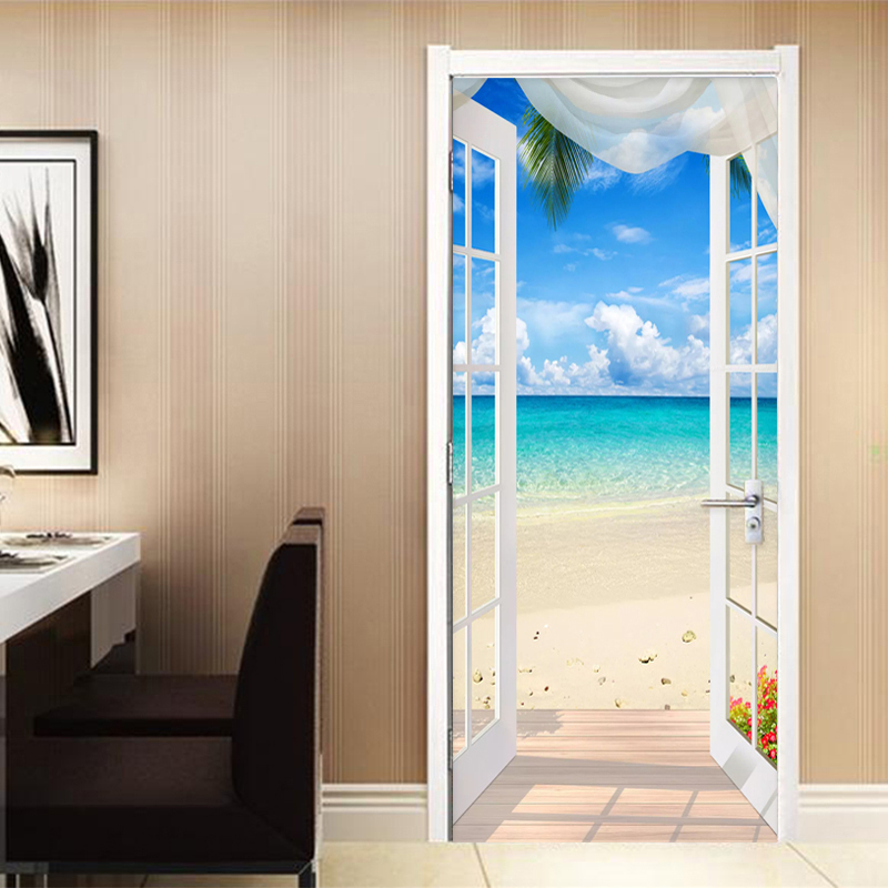 3D Seascape Door Wall Sticker Decal Self Adhesive Mural Home Living Room Decor
