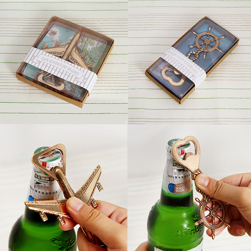 Creative Metal Boat Rudder Antique Plane Beer Bottle Opener With Gift Box Wedding Gifts For Guests Kitchen Supplies Decapsuleur