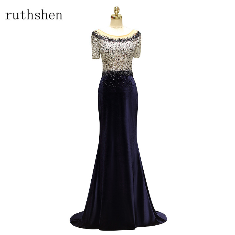 ruthshen 2018 New Style Short Sleeves Velour Mother of the Bride   Dress   Mermaid   Evening     Dress   Mother Bride Gown Formal   Dresses