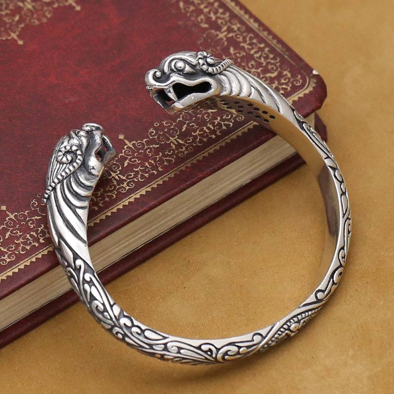 NEW! Handmade Thai 925 Silver Lucky Animal Bangle Sterling Silver Man Bangle Real Pure Silver Dragon Bangle PUNK Jewelry Gift popular good quality gift silver jewelry bangle pink love heart famous crystals 925 pure silver bangle