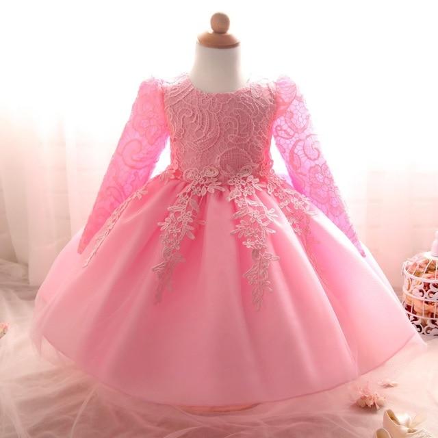 Elegante Abito da sposa Ragazza Battesimo ragazze Vestiti Del Bambino  Appena Nato 1 anno Di Compleanno 3e633bd22f7