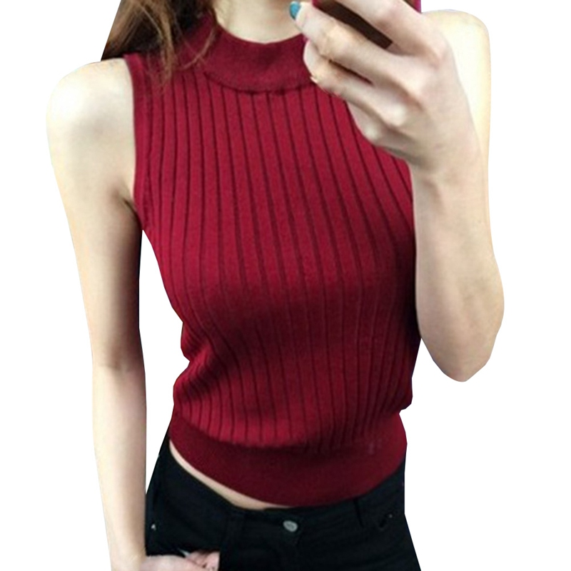Women Sexy 2018 Summer Fashion Women Knitted High Collar Vest Strapless Tops Solid Sleeveless Sweater