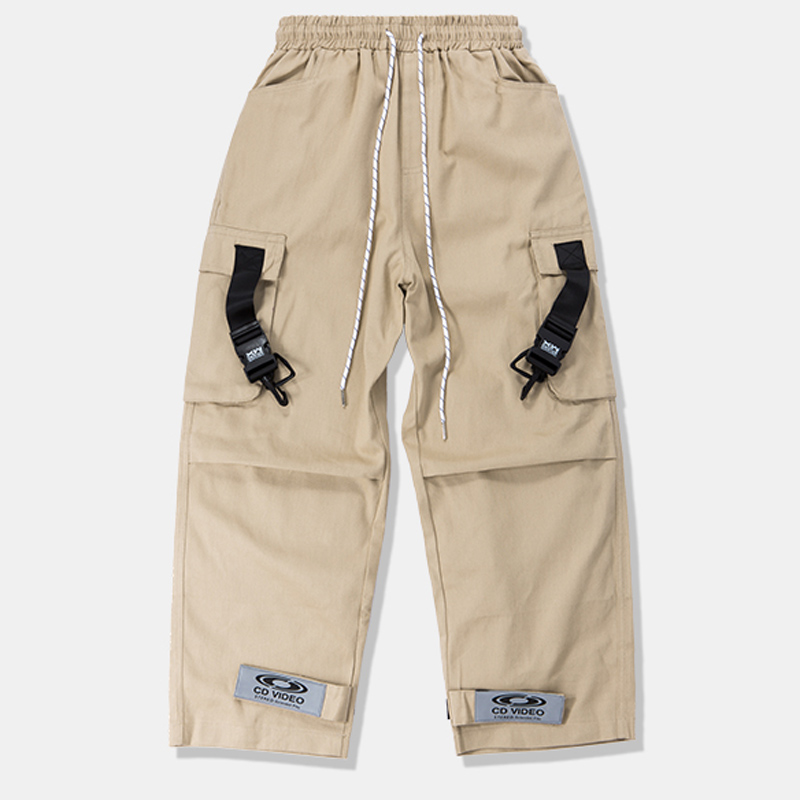 HFNF Loose Fit Elastic Waist Cargo Pants Street Ankle Banded Large Pockets Casual Fashion