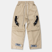HFNF Loose Fit Elastic Waist Cargo Pants Street Ankle Banded Pants Large Pockets Casual Pants Fashion Cargo Pants