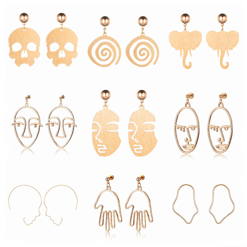 New Arrival Abstract Fashion Hollow Out Face Dangle Earrings Girls Hand Palm Drop Earrings Statement Earrings Bohemian Bijoux