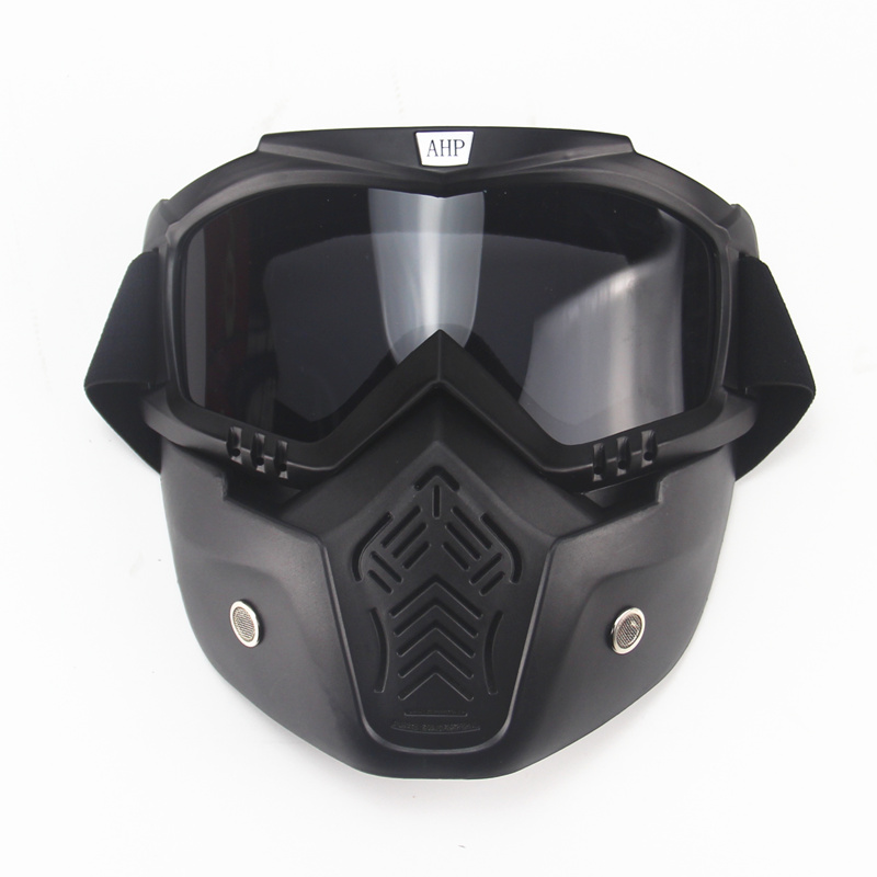 motorcycle face mask dust mask with detachable Goggles And Mouth Filter for modular for Open Face moto Vintage Helmets