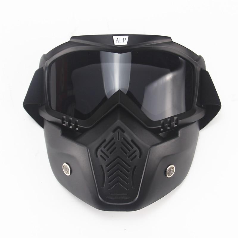motorcykel ansiktsmask dammmask med avtagbar skyddsglasögon och munfilter för modular för Open Face moto vintagehjälmar