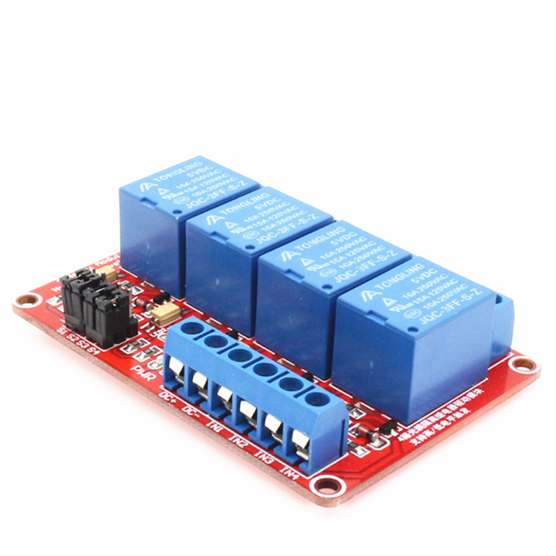 цена на 4 Channel Relay Module with Optocoupler Isolation Supports High and Low Trigger voltage 5V, 12V, 24V