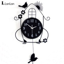 Фотография  LanLan Creative Living Room Wall Clocks Pastoral Bird Clock  Black -30