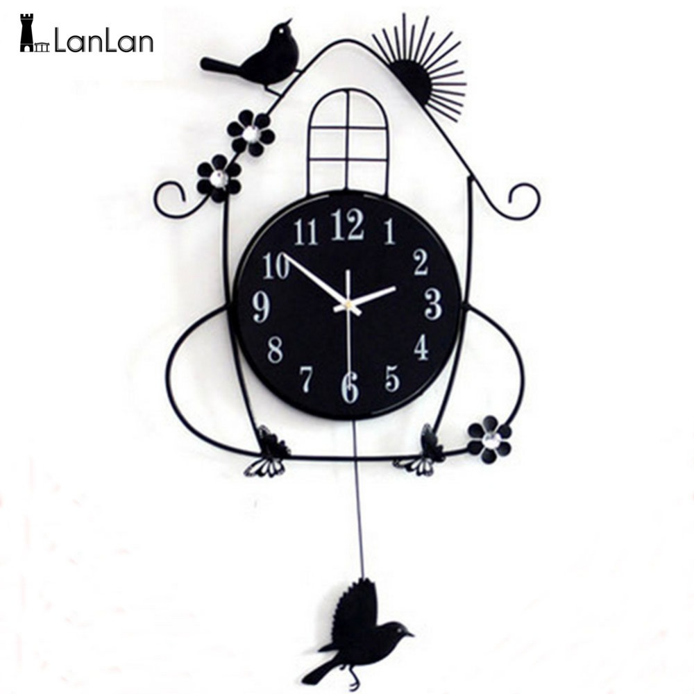 LumiParty Creative Living Room Wall Clocks Pastoral Bird Clock Black ...