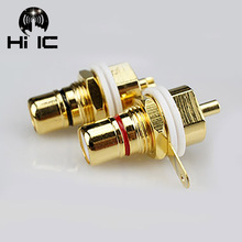 1 Pair Amp HiFi Pure Copper Gold plated RCA Female Socket Chassis RCA CMC Female Connector Copper Plug Audio Terminal Plug