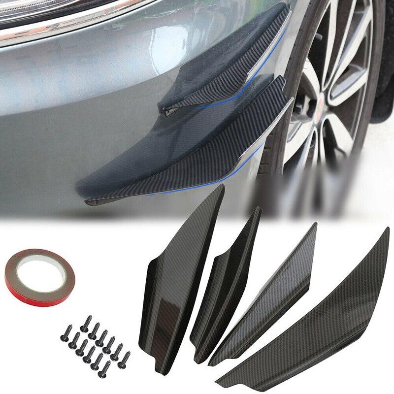 4xUniversal Car Front Bumper Lip Splitter Diffuser Chin Spoiler Canard Deflector