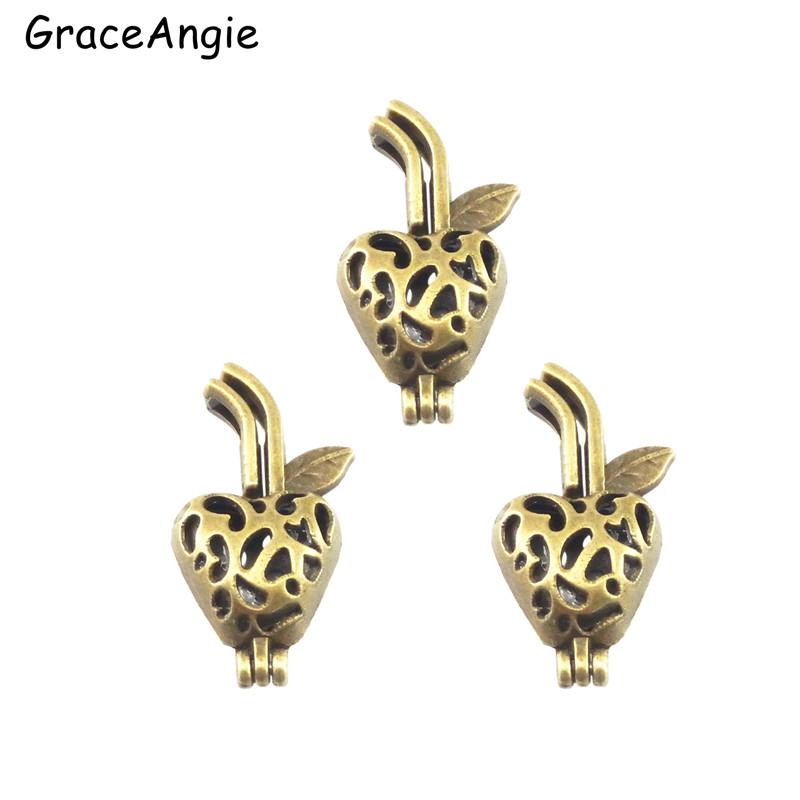 GraceAngie Bronze Strawberry Pendant Cute Jewelry Making Supplies Alloy Beads Cage Charms Essential Oil Diffuser Retro Jewelry