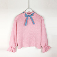 new winter Japanese cute sweater hedging loose bandage patchwork color lotus sleeve sweater G31