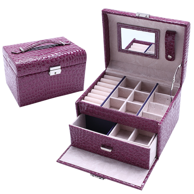 JULYS SONG Jewelry Storage Box Fashion Double Layer PU Leather