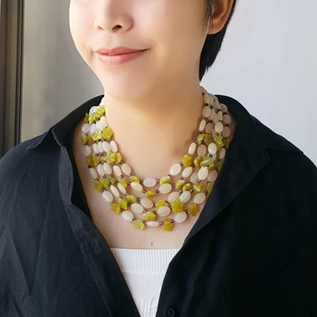 Lii Ji Natural Stone Korea Jade Flowers Dyed Yellow White Jade Amethyst 5 Rows Necklace Approx 45cm