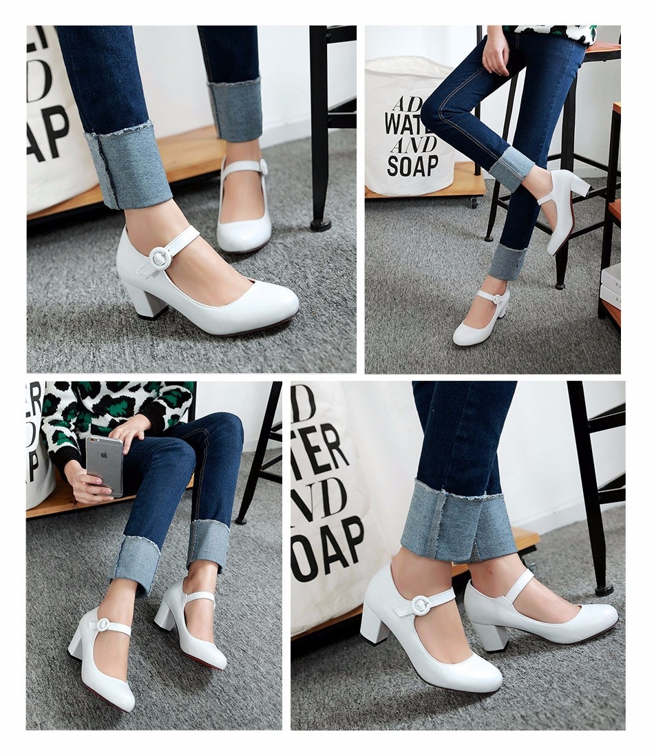 Meotina Women Shoes Mary Jane Ladies High Heels White Wedding Shoes Thick Heel Pumps Lady Shoes Black Pink Beige Plus Size 43 10 9