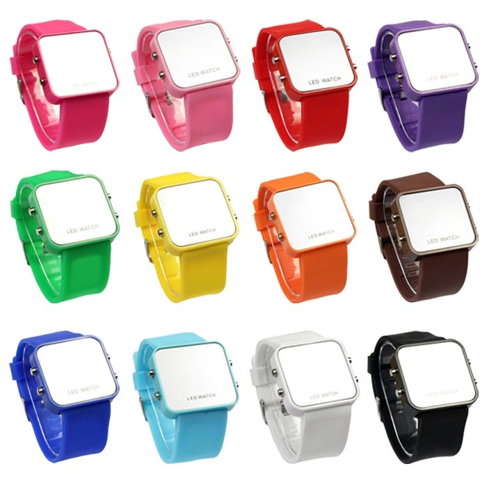 Mini LED Digital Calendar Day/Date Montre Femme Silicone Sports Mirror Faceless Watches Men Lady Watch LL