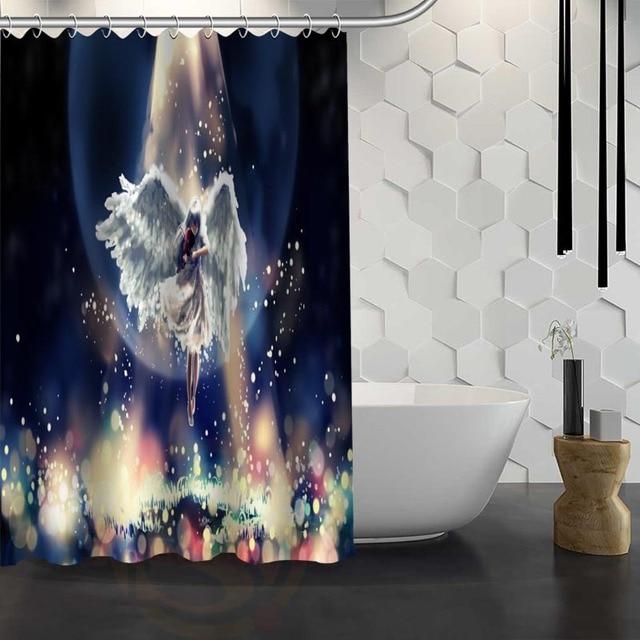 Mondern Classical Angel Shower Curtain Pattern Customized Shower ...