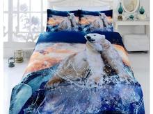 Комплект постельного белья двуспальный-евро VIRGINIA SECRET, Bamboo, медведи, синий, 3D