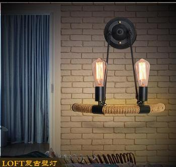Vintage retro loft rope wall lamp bedroom bedside aisle corridor pub balcony bar club cafe light bra creative indoor wall sconce