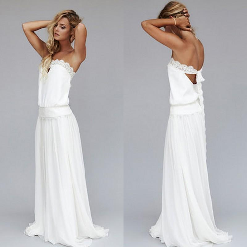 2019 New Unique Beach Wedding Dresses Cheap Dropped Waist Bohemian Strapless Backless Boho Bridal Gowns Lace Ribbon Custom Made