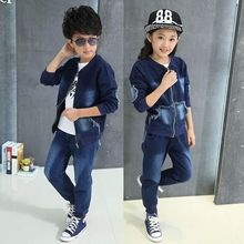 kids jeans for girls boys sets teenage baby jacket children coat +long pant 2 pcs age size resale clothing