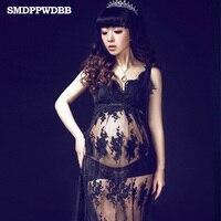 Royal Style Black Maternity Lace Dress Pregnant Photography Props Fancy Pregnancy Maternity Photo Shoot Long Dress