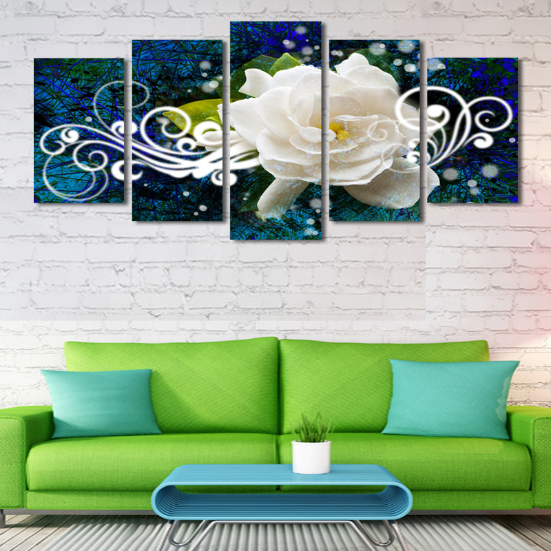2017 Hot Sale Cuadros Canvas Painting 5 Pcs(no Frame) Flowes Picture Print Painting On Canvas Wall Art Home Decor Living Room