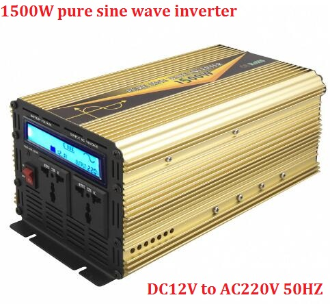 LCD display inverter rated power 1500W peak power 3000W DC 12 to AC 220V 50hz pure sine wave off grid inverter for solar system solar power on grid tie mini 300w inverter with mppt funciton dc 10 8 30v input to ac output no extra shipping fee