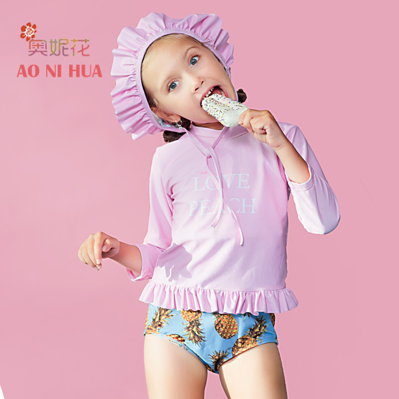 AONIHUA 2017 Pink Pineapple printed Ruffles Two piece Swimsuit Girls kids swimwear summer Children long sleeve bathing suit
